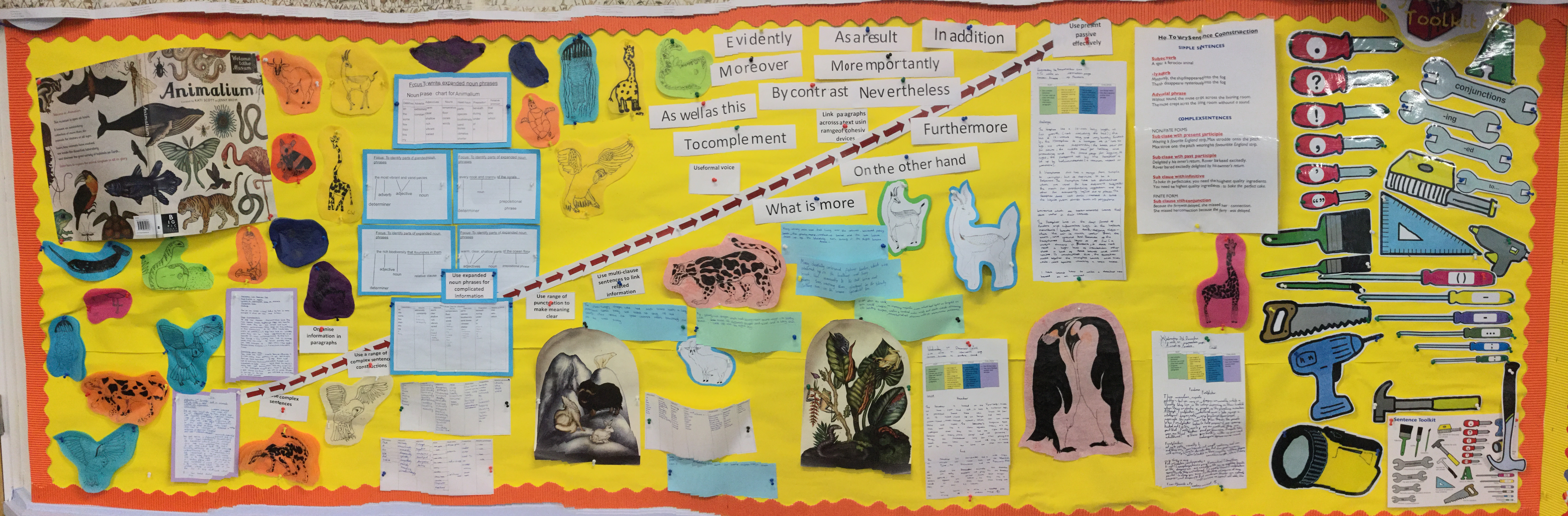 Babcock, Example of a working wall on 'Animalium' by Jenny Bloom and Katie Scott. Thanks to Stokenham Area Primary School for sharing.